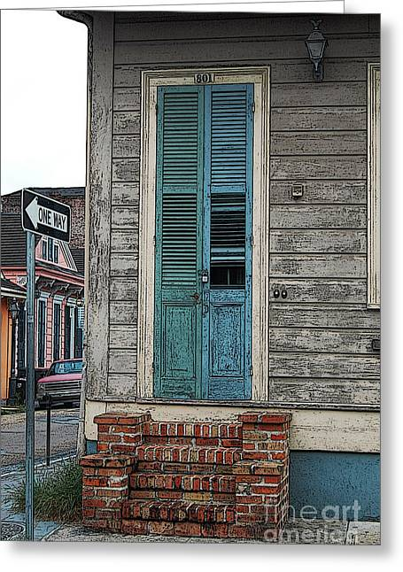 Vintage Dual Color Wooden Door And Brick Stoop French Quarter New Orleans Posteredges Digital Art Greeting Card