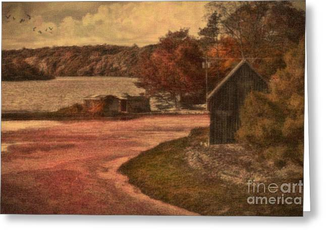 Vintage Farm Greeting Card by Gina Cormier