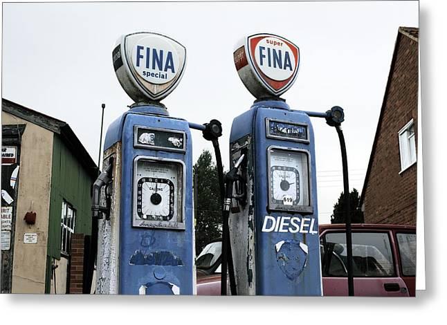 Vintage Fuel Pumps Greeting Card by Martin Bond