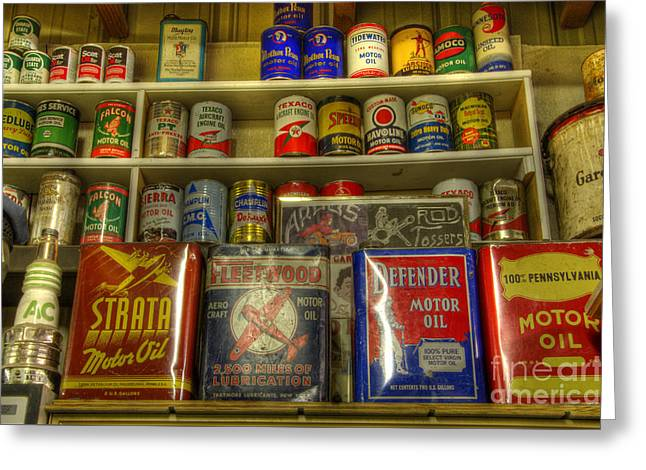 Vintage Garage Oil Cans Greeting Card by Bob Christopher