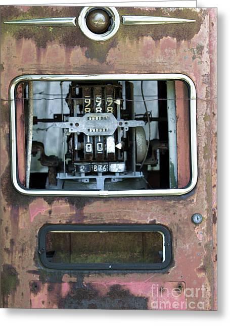 Vintage Gas Pump Greeting Card by Alan Look