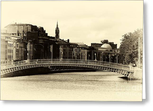 Vintage Ha'penny Bridge Greeting Card by John Rizzuto