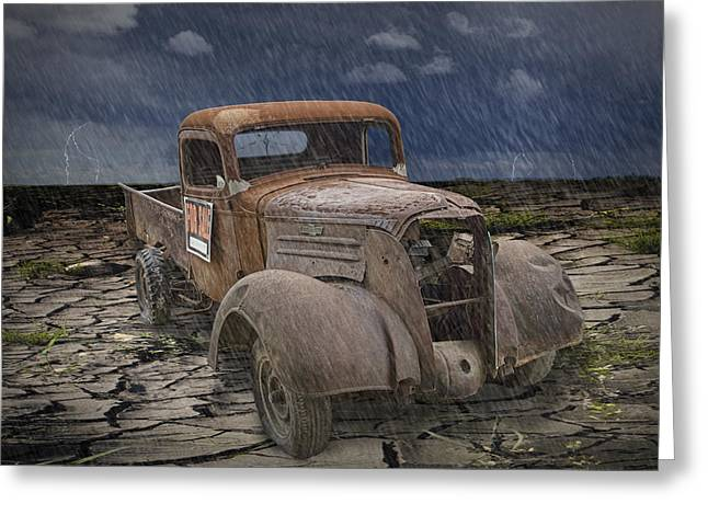 Photography Lightning Greeting Cards - Vintage Junk Auto in the Rain Greeting Card by Randall Nyhof