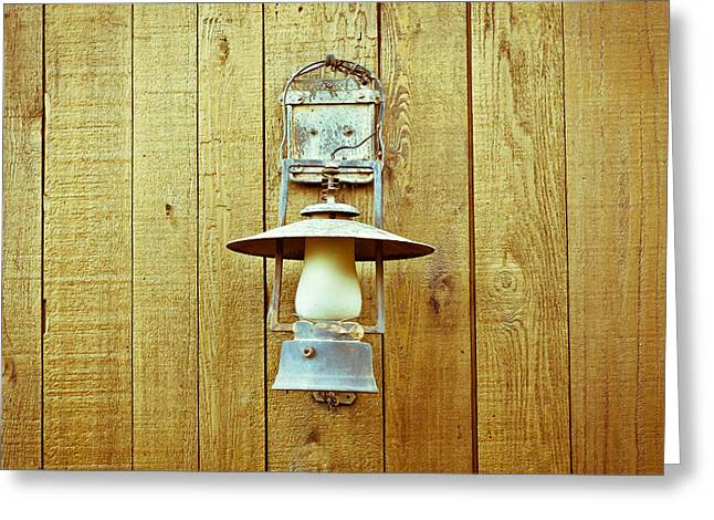 Vintage Lamp Greeting Card by Tom Gowanlock
