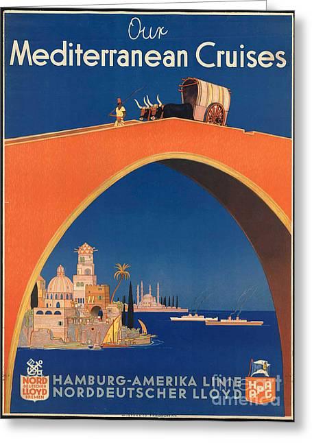 Vintage Mediterranean Travel Poster Greeting Card by George Pedro