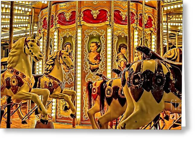 Vintage Merry-go-round  Greeting Card by Alexandra Jordankova