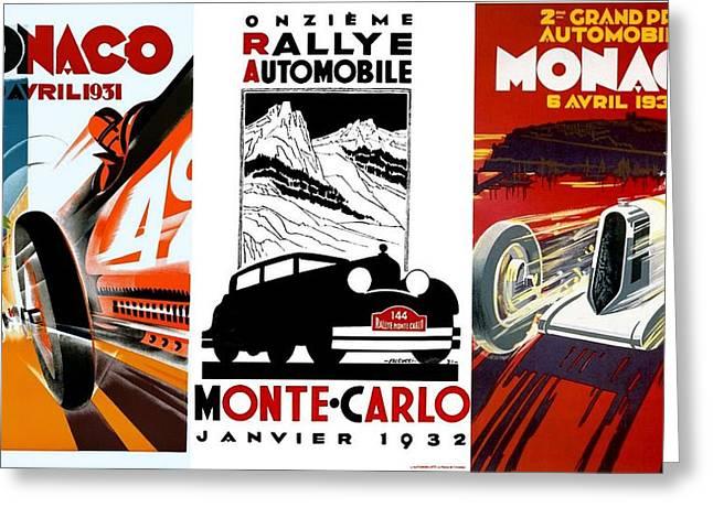 Vintage Monte Carlo Racing Posters Greeting Card
