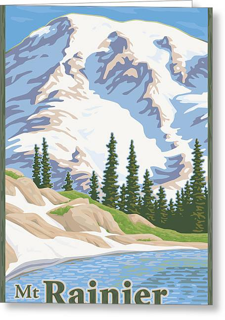 Vintage Mount Rainier Travel Poster Greeting Card