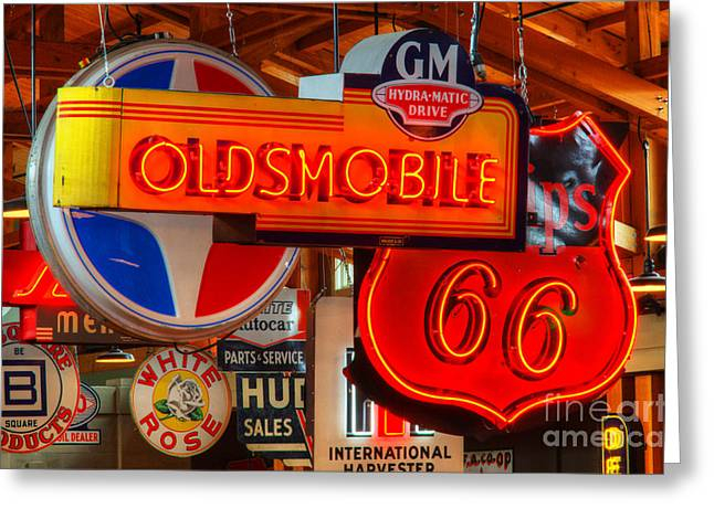 Vintage Neon Sign Oldsmobile Greeting Card by Bob Christopher
