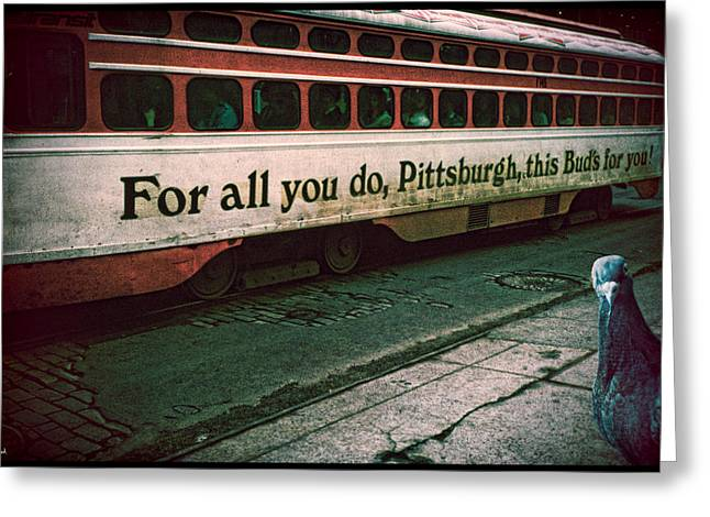 Vintage Pittsburgh Trolly Greeting Card by Chris Lord