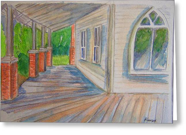 Vintage Porch With Gothic Window Greeting Card by Belinda Lawson