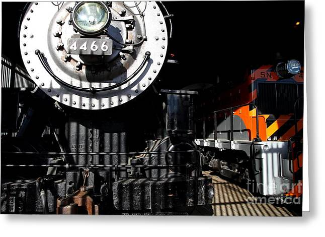 Vintage Railroad Locomotive Trains In The Train House . 7d11633 Greeting Card by Wingsdomain Art and Photography
