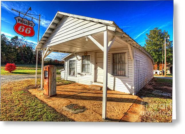 Vintage Rural One Pump Gas Station Greeting Card by Dan Carmichael