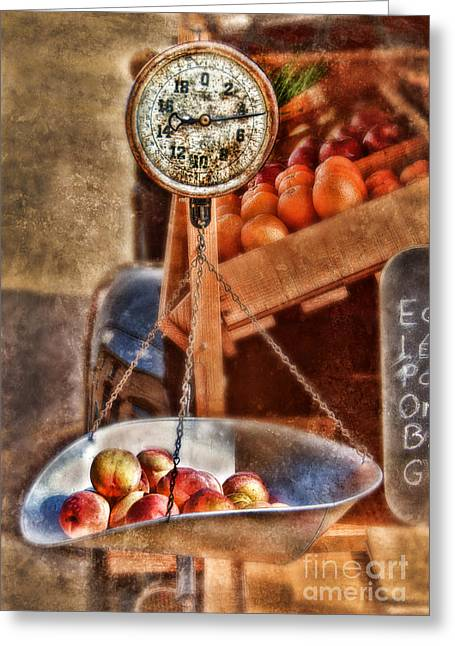 Vintage Scale At Fruitstand Greeting Card by Jill Battaglia