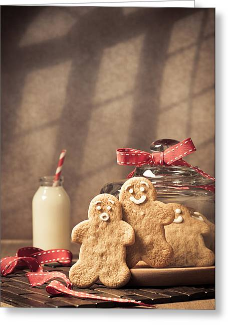 Vintage Style Gingerbread Men Greeting Card by Amanda Elwell