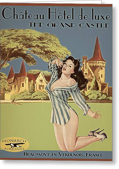 Vintage Travel Poster The Grand Castle Greeting Card by Cinema Photography
