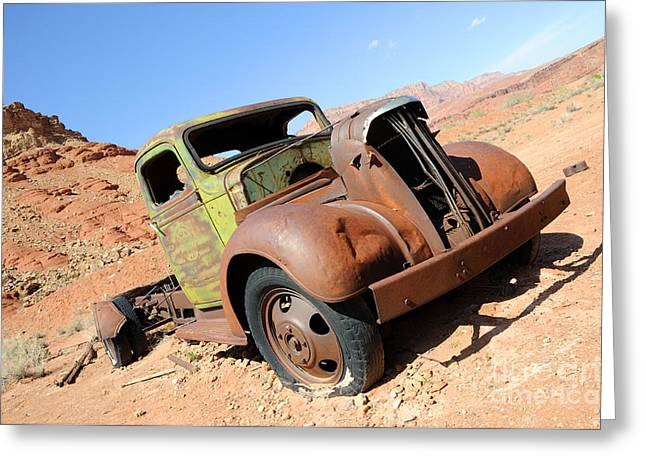 Vintage Truck At Lonely Dell Ranch Greeting Card by Gary Whitton