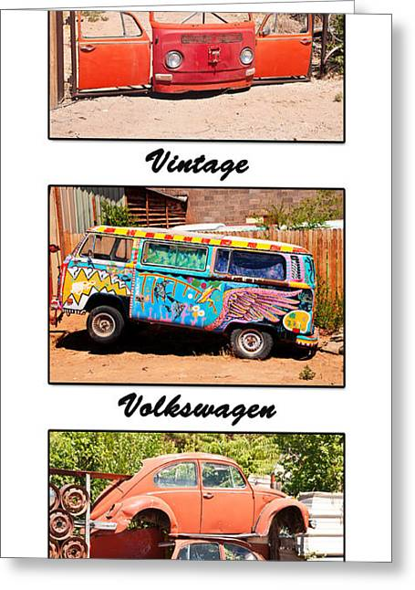 Vintage Volkswagen Triptych Greeting Card by Bob and Nancy Kendrick