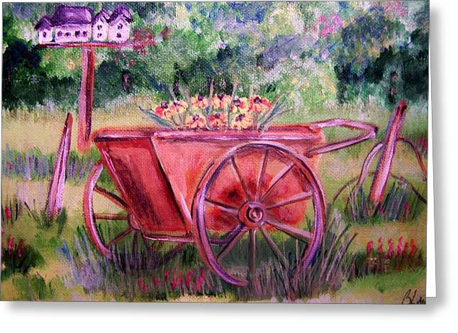Greeting Card featuring the painting Vintage Wheel Barrow by Belinda Lawson