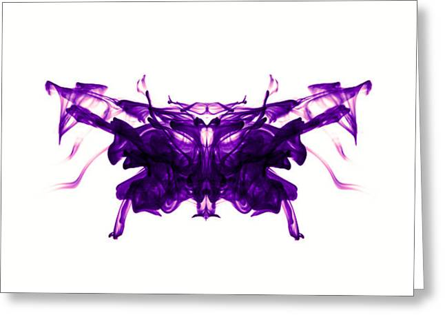 Violet Abstract Butterfly Greeting Card by Sumit Mehndiratta