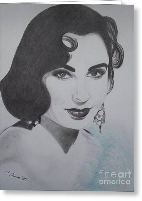 Violet Eyed Beauty Greeting Card by Christy Bruna