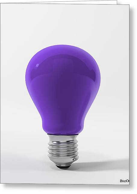 Violet Lamp Greeting Card by BaloOm Studios