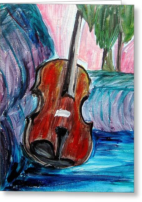 Greeting Card featuring the painting Violin by Amanda Dinan