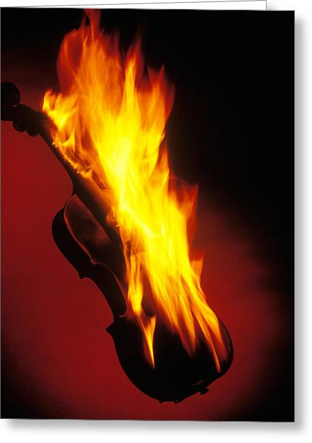 Violin On Fire Greeting Card by Garry Gay