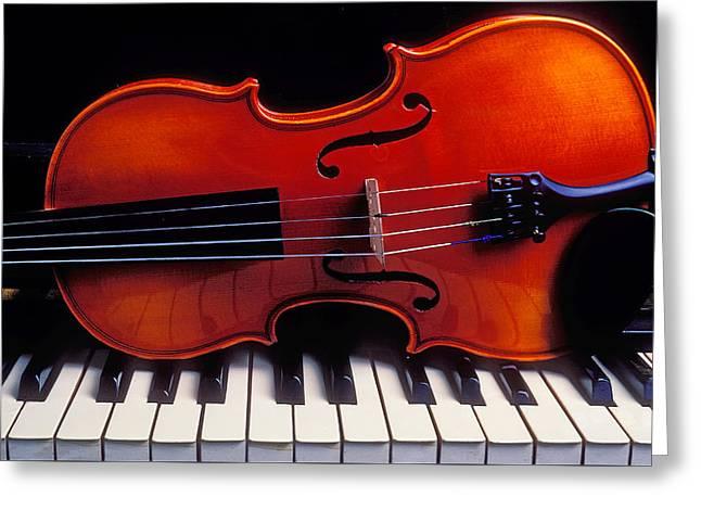 Violin On Piano Keys Greeting Card by Garry Gay