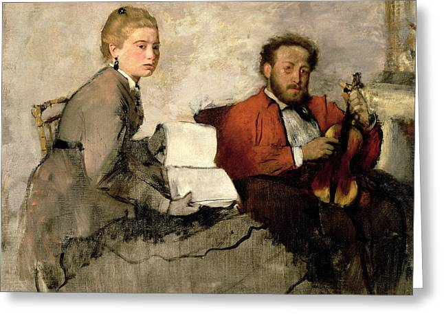 Violinist And Young Woman Greeting Card by Edgar Degas
