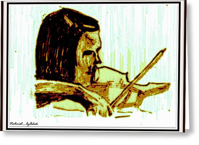 Violinist With Half A Violin Greeting Card by Ashok Naraian