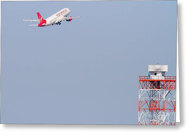Virgin America Airlines Jet Airplane At San Francisco International Airport Sfo . 7d11915 Greeting Card by Wingsdomain Art and Photography