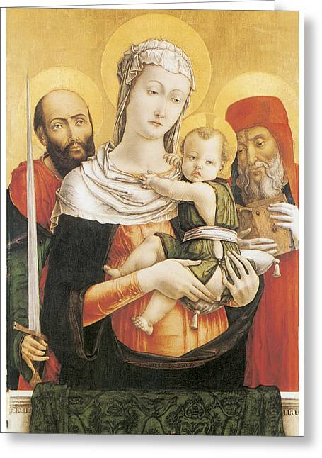 Virgin And Child With Saints Paul And Jerome Greeting Card by Bartolomeo Vivarini