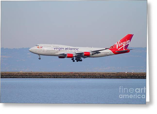 Virgin Atlantic Airways Jet Airplane At San Francisco International Airport Sfo . 7d12193 Greeting Card