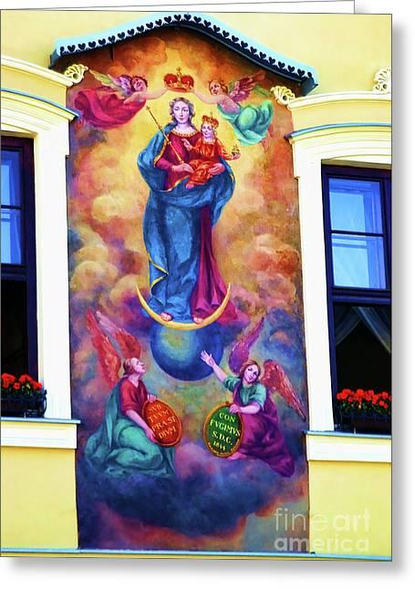 Virgin Mary Mural Greeting Card by Mariola Bitner