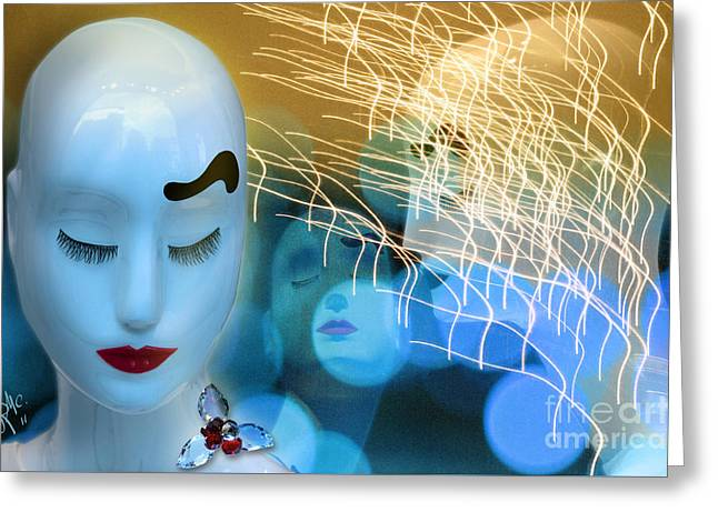 Greeting Card featuring the digital art Virginal Shyness by Rosa Cobos