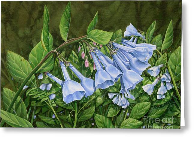 Greeting Card featuring the painting Virginia Bluebells by Bob  George