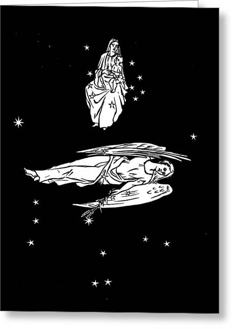 Virgo And Coma Constellations, Artwork Greeting Card by