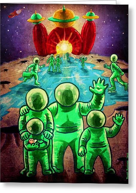 Visit The Moon Greeting Card by Baird Hoffmire