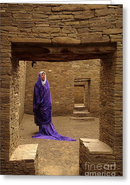 Visitor At Chaco Canyon Greeting Card by Bob Christopher