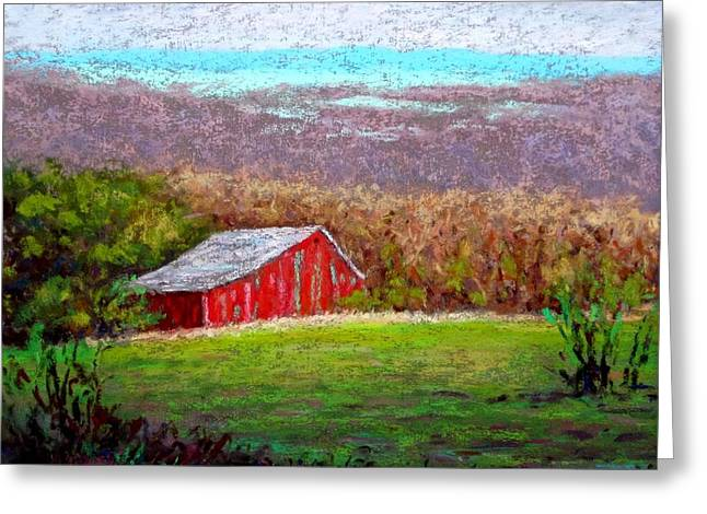 Vista With Red Barn Greeting Card by Bob Richey