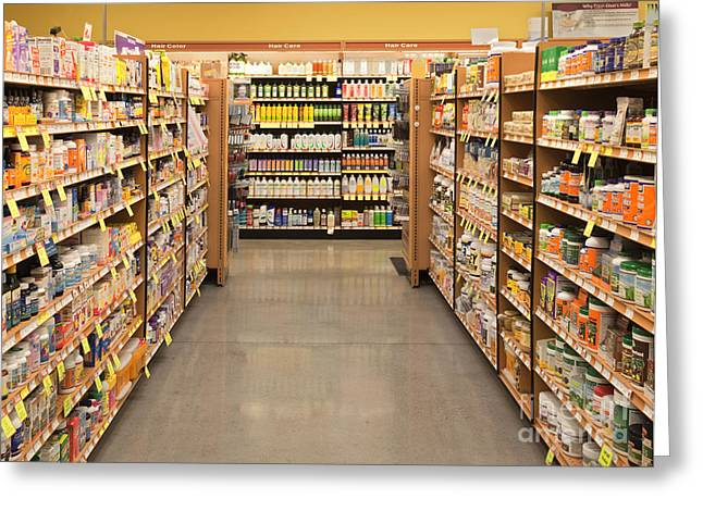 Vitamin And Supplement Aisle Greeting Card