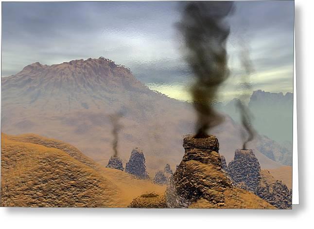 Volcanoes On Venus, Artwork Greeting Card by Walter Myers