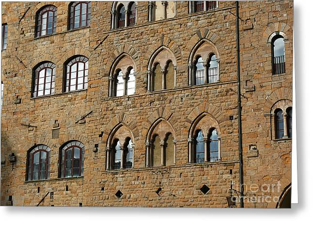 Greeting Card featuring the photograph Volterra Wall Of Windows by Jeanne  Woods