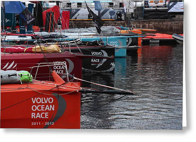 Volvo Ocean Race 2011-2012 Greeting Card by Peter Skelton