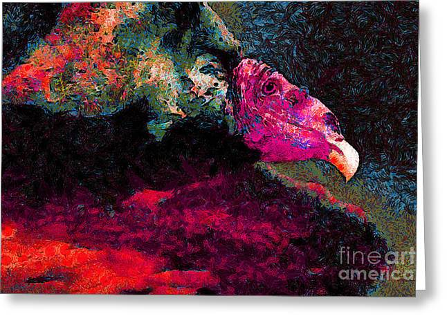 Vulture In Van Gogh.s Dream . V2 . 40d8879 Greeting Card by Wingsdomain Art and Photography