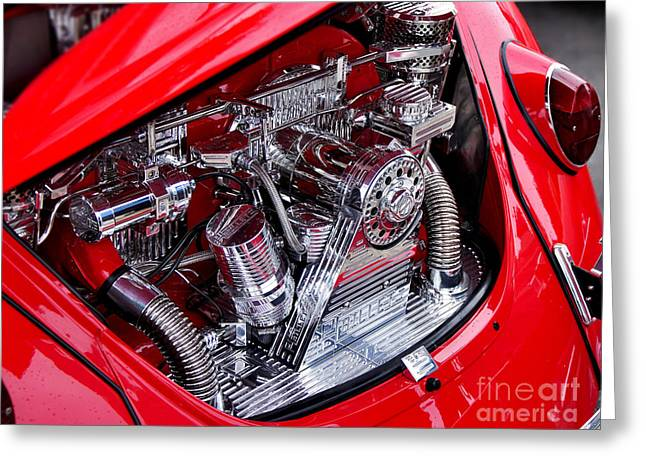 Vw Beetle With Chrome Engine Greeting Card by Kaye Menner