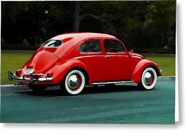 Vw Bug Oil Painting Greeting Card by Paul Van Scott