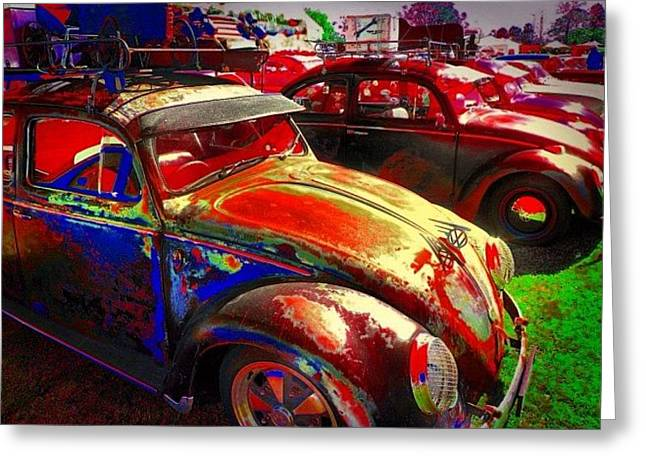 Vw Bugs @ Greazefest Greeting Card
