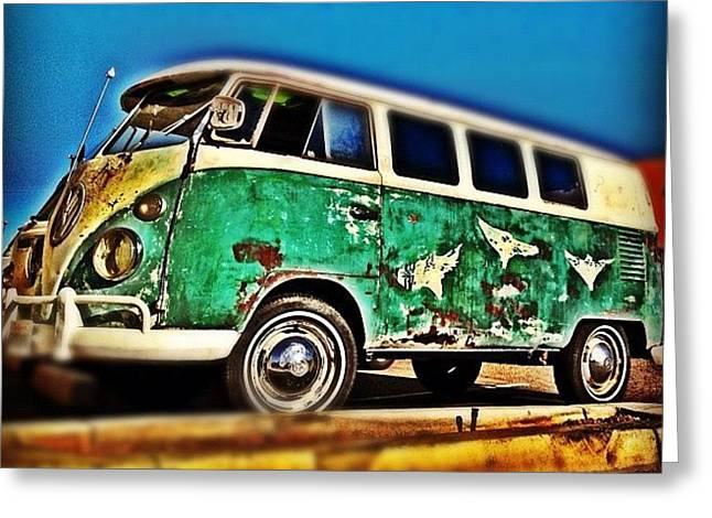 #vw #volkswagon #bus #patina #vintage Greeting Card